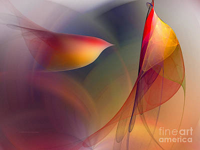 Warm Digital Art - Abstract Fine Art Print Early In The Morning by Karin Kuhlmann