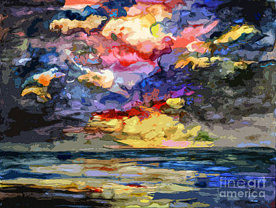 Mixed Media - Abstract Stormy Sunrise Seascape by Ginette Callaway