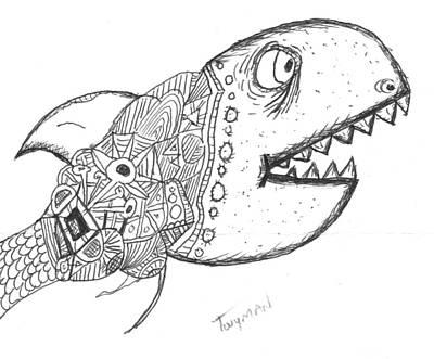 Fish Drawing - Abstract Fish by Dan Twyman