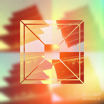 Nara Digital Art - Abstract Five-storied Pagoda 1 by Beverly Claire Kaiya