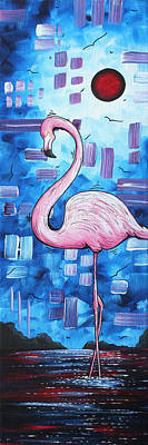 Shimmering Painting - Abstract Flamingo Tropical Art Original Painting Flamingo Dreams By Madart by Megan Duncanson