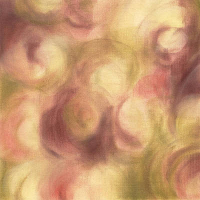 Abstract Artist Painting - Abstract Floral Artwork Rose Pink Green by Beverly Brown