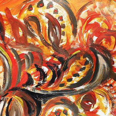 Abstract Pattern Painting - Abstract Khokhloma Floral Design Autumn Leaves by Irina Sztukowski