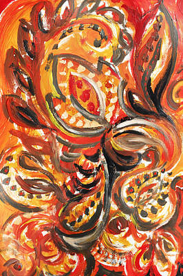 Abstract Pattern Painting - Abstract Floral Khokhloma Warm Twirl by Irina Sztukowski
