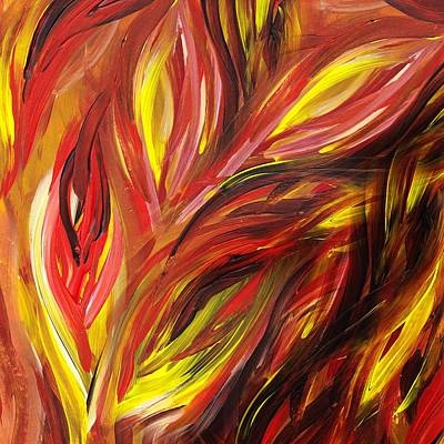 Abstract Floral Flaming Leaves Art Print by Irina Sztukowski