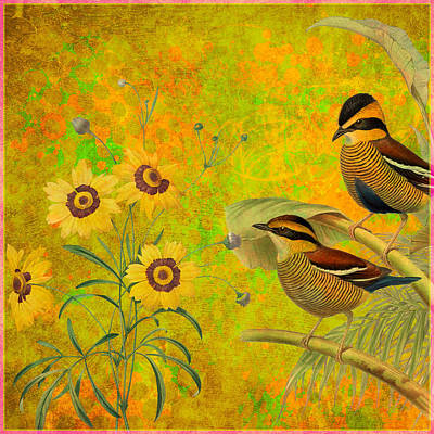Painting - Abstract Flower And Birds by Gary Grayson