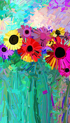 Painting - abstract - flowers- Flower Power Four by Ann Powell