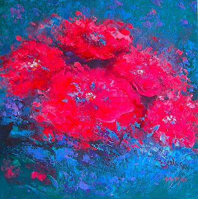 Print Of Poppy Painting - Abstract Flowers by Jan Matson