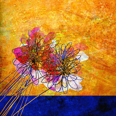 Painting - Abstract Flowers Orange And Blue by Ann Powell