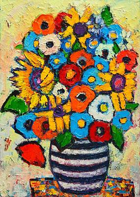 Abstract Flowers - Sunflowers And Colorful Poppies In Striped Vase Original by Ana Maria Edulescu