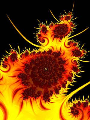 Warm Digital Art - Abstract Fractal Art Warm Vivid Colors Red Orange Yellow Black by Matthias Hauser