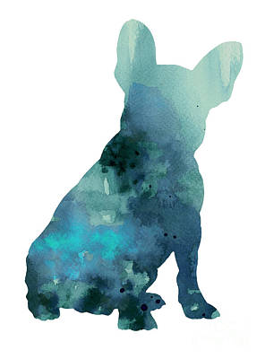 Abstract Dog Wall Art - Painting - Abstract Frenchie Silhouette Watercolor Poster by Joanna Szmerdt