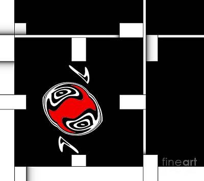 Abstract Geometric Art Black White Red No.82. Original by Drinka Mercep