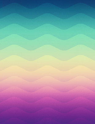Abstract Geometric Candy Rainbow Waves Pattern Multi Color Art Print by Philipp Rietz