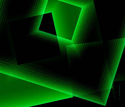 Abstract Geometry Green On Green In Digital Art Art Print by Mario Perez