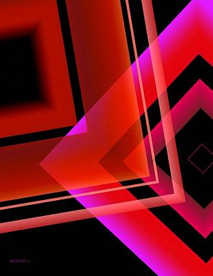 Forms Digital Art - Abstract Geometry In Red Transparency by Mario Perez