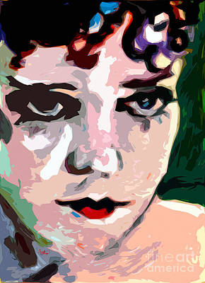 Painting - Abstract Gloria Swanson Silent Movie Star by Ginette Callaway