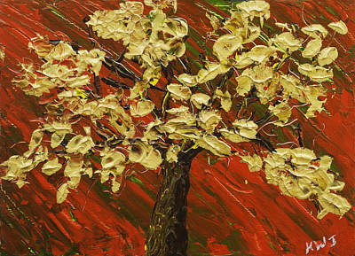 Painting - Abstract Gold Maple Tree Palette Knife Painting by Keith Webber Jr