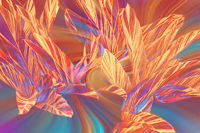 Red Leaf Digital Art - Abstract Golden Leaves by Linda Phelps