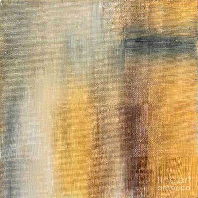 Saturated Painting - Abstract Golden Yellow Gray Contemporary Trendy Painting Fluid Gold Abstract II By Madart Studios by Megan Duncanson