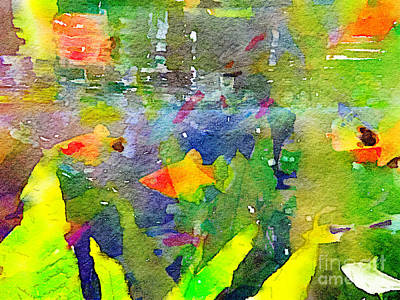 Painting - Abstract Goldfish Fish Bowl Aquarium Watercolor 2 by Beverly Claire Kaiya