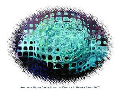 Abstract Green Brain Coral Art Print by Fabiola L Nadjar Fiore