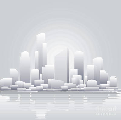 Abstract Grey City Background Art Print