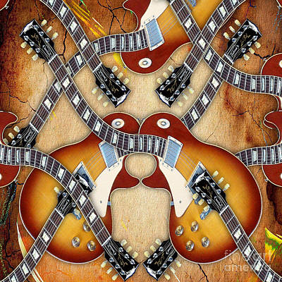 Abstract Guitar Maze Print by Marvin Blaine