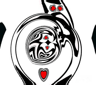 Concentration Digital Art - Abstract Hearts Black White Red Art Print No.133. by Drinka Mercep