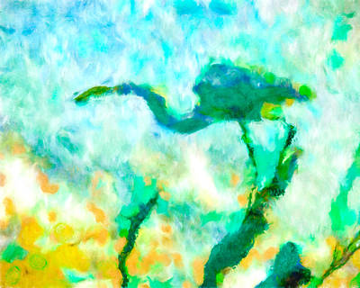 Birds Mixed Media - Abstract Heron Art by Priya Ghose