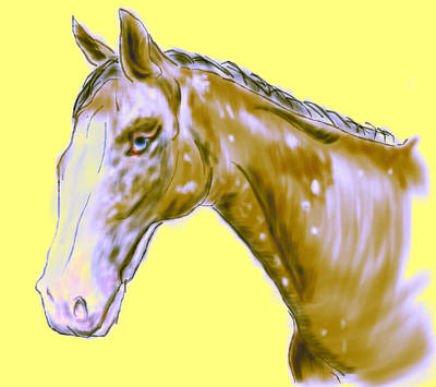 Pretty Cowgirl Painting - Abstract Horse  by Mark Moore