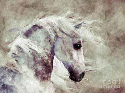 Sepia Ink Digital Art - Abstract Horse Portrait by Elle Arden Walby