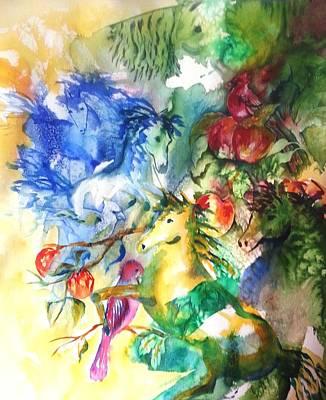Abstract Horses Art Print