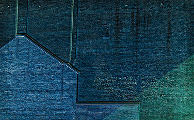Photograph - Brick Abstract In Blue And Green by Phil Cardamone