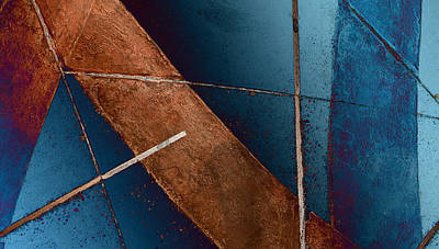 Digital Art - Abstract In Blue And Tan by Fran Riley
