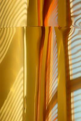Venetian Blinds Photograph - Abstract In Brass - 3 - Historic Library Building - Omaha Nebraska by Nikolyn McDonald