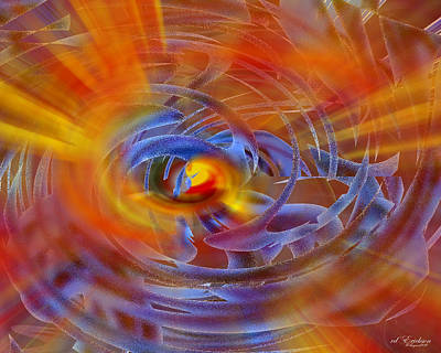 Digital Art - Abstract In Fire And Blue by rd Erickson