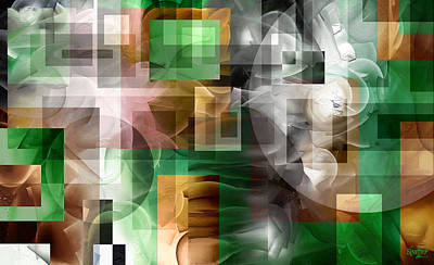 Art Print featuring the painting Abstract In Green by Curtiss Shaffer