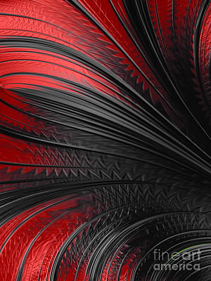 Mysterious Digital Art - Abstract In Red And Black by John Edwards