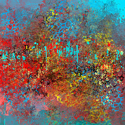 Painting - Abstract In Red Aqua And Yellow by Jessica Wright