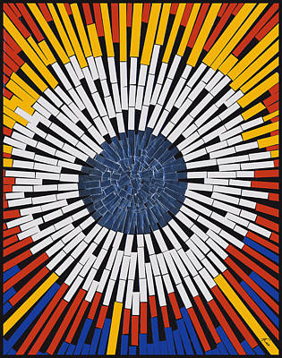 Abstract In Tape - Starburst Art Print by Agustin Goba