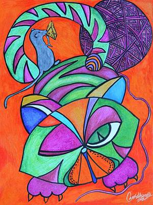 Drawing - Abstract Kitty Galore by Carol Hamby