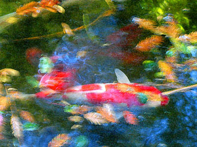 Water Painting - Abstract Koi 1 by Amy Vangsgard