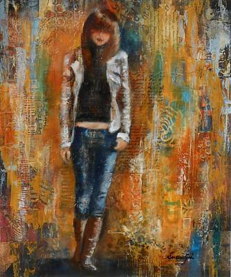 Abstract Purse Painting - Abstract Lady 2   by Susan Goh