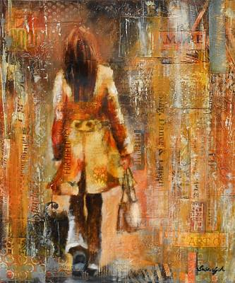 Abstract Purse Painting - Abstract Lady  5 by Susan Goh