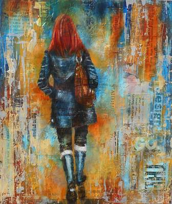 Abstract Purse Painting - Abstract Lady 9 by Susan Goh