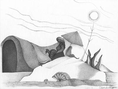 Contemporary Abstract Drawing - Abstract Landscape Art Black And White Beach Cirque De Mor By Romi by Megan Duncanson