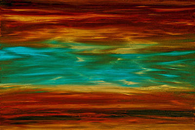 Abstract Landscape Art - Fire Over Copper Lake - By Sharon Cummings Print by Sharon Cummings
