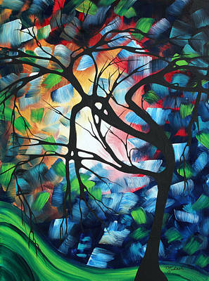 Abstract Tree Painting - Abstract Landscape Art Original Colorful Painting Tree Maze By Madart by Megan Duncanson