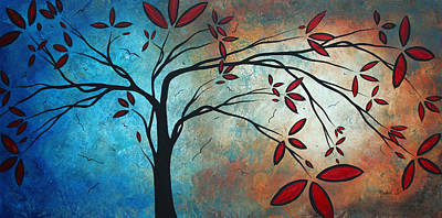 Brilliant Painting - Abstract Landscape Art Original Painting Smile Upone Me By Madart by Megan Duncanson